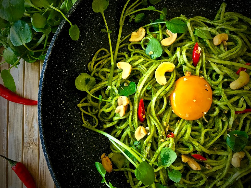 Watercress Cashew Pesto Noodles Stir-Fry