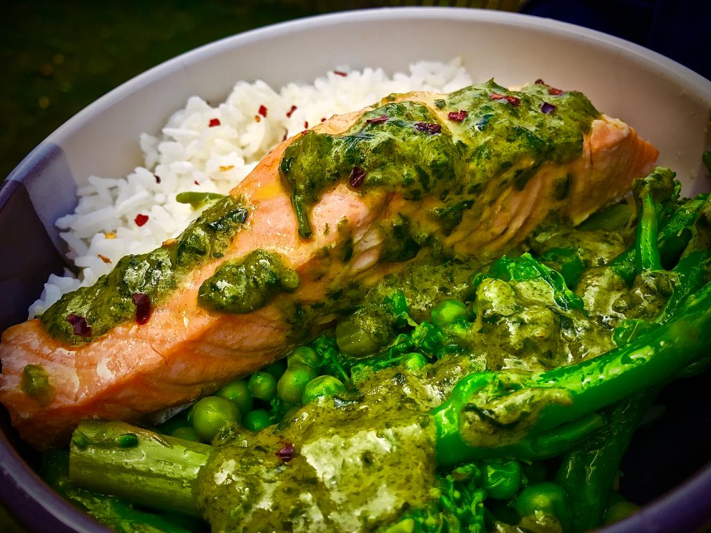 Salmon With Thai Green Curry Sauce